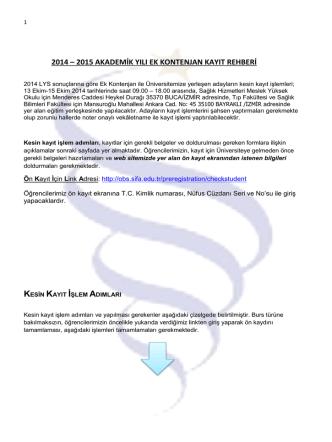 2014 - 2015 Akademik Yılı Ek Kontenjan Kayıt