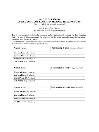 Acil Bilgi Formu - AKD Kids Etiler