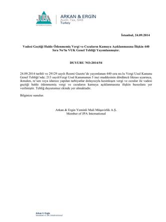 2014-54 Vadesi Geçtiği Halde Ödenmemiş Vergi