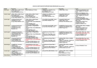2014-2015 hukuk fakültesi ders programı (genel görünüm)
