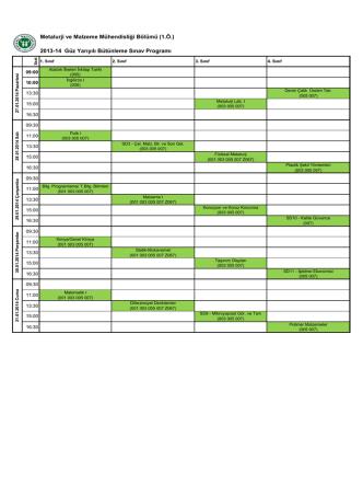 2013-14 Güz Yarıyılı Bütünleme Sınav Programı