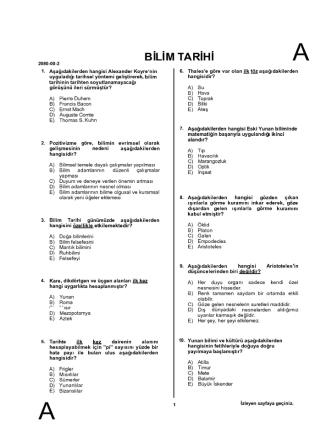 . Tarihte M keı 2080-00-2 B M İ 1- Aşağıdakilerden - vize