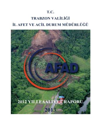 2012 yılı faaliyet raporu - Trabzon İl Afet ve Acil Durum Müdürlüğü