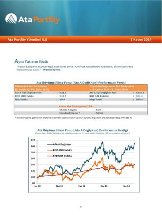 Ata Portföy Yönetimi A.Ş 3 Kasım 2014 Ayın Yatırım Sözü: