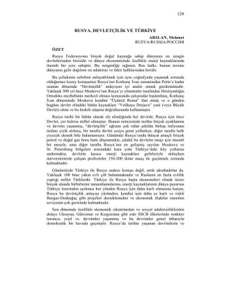 ARSLAN, Mehmet-RUSYA, DEVLETÇİLİK VE TÜRKİYE