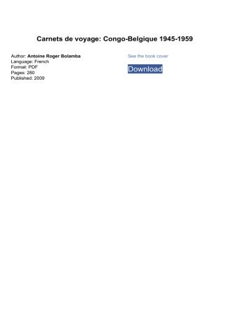 Carnets de voyage: Congo-Belgique 1945-1959