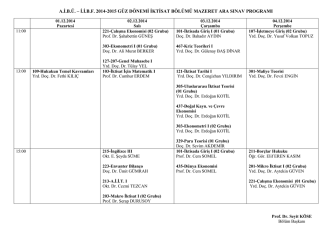 a.i.b.ü. – i.i.bf 2014-2015 güz dönemi iktisat bölümü mazeret ara