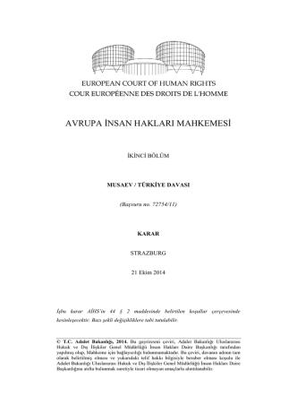 21 Ekim 2014 tarihli Musaev v. Türkiye Kararı
