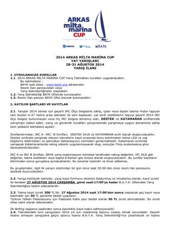 2014 ARKAS MİLTA MARİNA CUP YAT YARIŞLARI 28-31