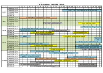 2014 Yılı Seniors Turnuvalar Takvimi