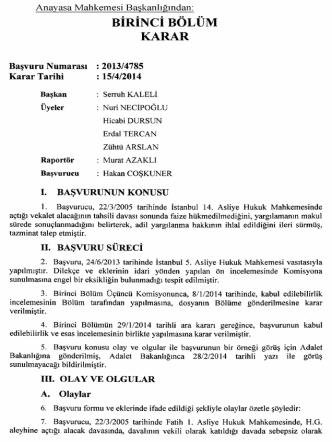 Anayasa Mahkemesinin 15/4/2014 Tarihli ve 2013