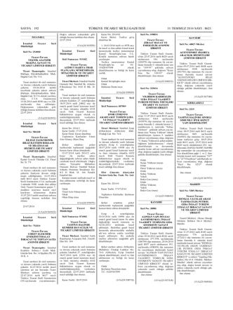 8621 sayılı Türkiye Ticaret Sicili Gazetesi 06.08.2014