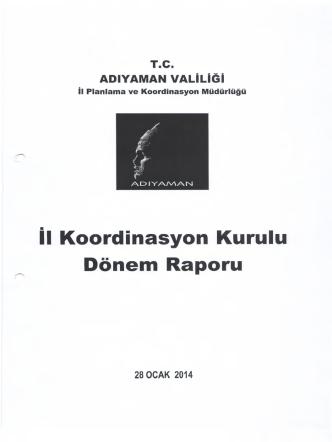 2014 yılı 1. Dönem İl Koordinasyon Kurulu Raporu