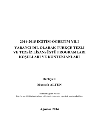2014-2015 EĞĠTĠM-ÖĞRETĠM YILI YABANCI DĠL OLARAK