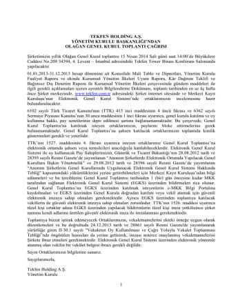 15-04-2014 Olağan Genel Kurul Toplantısı