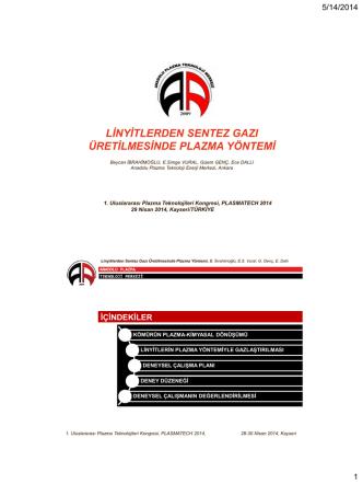5.03 Linyitlerden Sentez Gazi Üretilmesinde Plazma Yöntemi