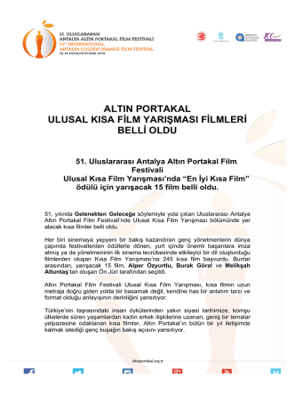 51.Uluslararası Antalya Altın Portakal Film Festivali Ulusal Kısa Film