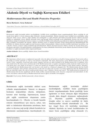 Akdeniz Diyeti ve Sağlığı Koruyucu Etkileri