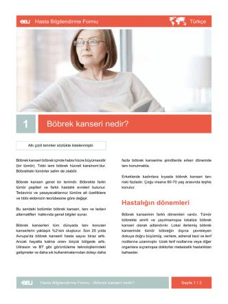 Böbrek kanseri nedir? - EAU Patient Information