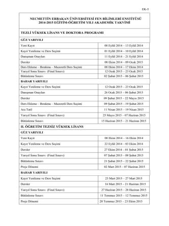 2014-15 Eğitim Öğretim Yılı Akademik Takvimi