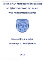 PHP_Dosya_Dizin_islemleri - İsmet Aktar Teknik ve Endüstri Meslek
