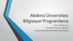 Yardımcı Java Ders-3 - Akdeniz Üniversitesi