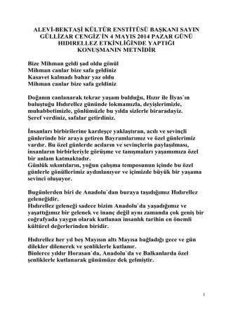 Alevi-Bektaşi Kültür Enstitüsü Başkanı Sayın Gülizar Cengiz`in 4