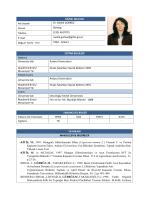 KİŞİSEL BİLGİLER Adı Soyadı Dr. Melek GÜRBÜZ Ünvan Biyolog