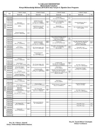 2014-2015 Yılı Bahar Dönemi Ders Programı (II.Ö)