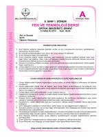 8. SINIF FEN VE TEKNOLOJİ TESTİ 2014