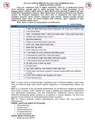 2. Sınıflar ihtiyaç listesi