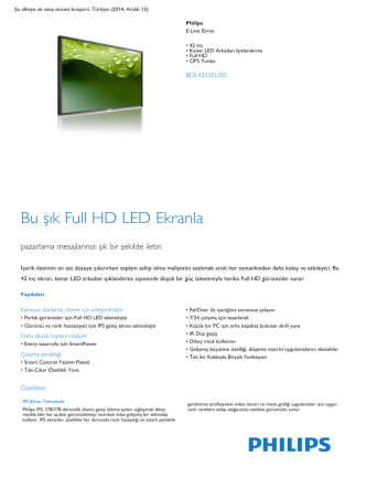 42 inç Kenar LED Arkadan Işıklandırmalı Full HD E-Line