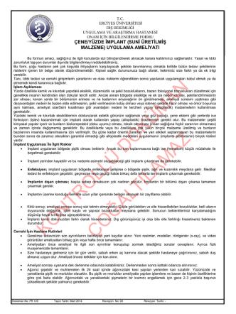 Çene Yüzde İmplant Onam Formu (FR 120)
