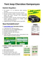 Yeni Jeep Cherokee Kampanyası Katılım Koşulları