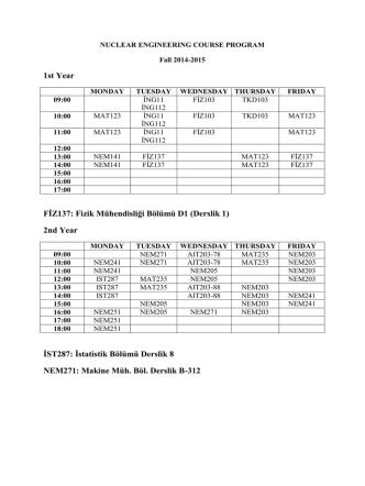 2014-2105 Güz Dönemi Ders Programı