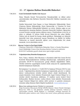 11 – 17 Ağustos Haftası Denizcilik Haberleri