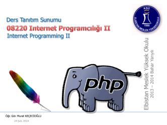 08220 Internet Programcılığı II Ders Tanıtım Sunumu