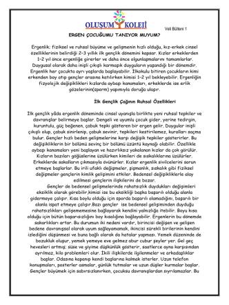 Anadolu Lisesi Rehberlik Veli Bülteni Ekim