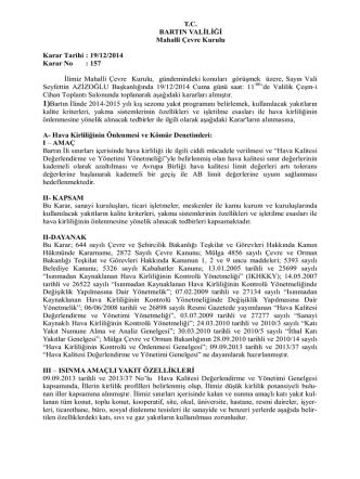 19.12.2014 Tarih, 157 Sayılı Mahalli Çevre Kurulu