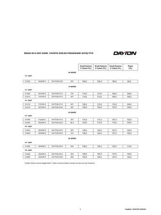 DAYTON NİSAN 2014 Fiyat Listesi