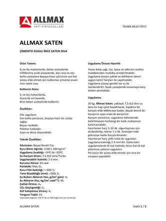 ALLMAX SATEN - Allmax Yapı Kimyasalları