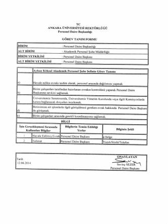 akademik personel şube müdürlüğü görev tanımları