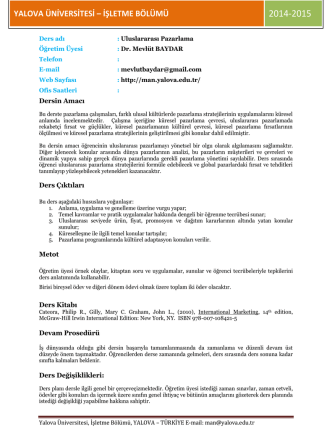4IO.Uluslararası Pazarlma - Yalova Üniversitesi   İİBF