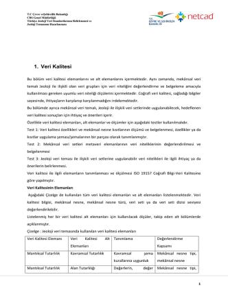 1. Veri Kalitesi - Çevre ve Şehircilik Bakanlığı