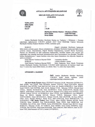 13.06.2014 Tarihli Meclis Toplantı Tutanağı