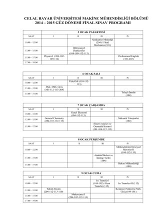 2014 - 2015 Güz Yarıyılı Final Programı