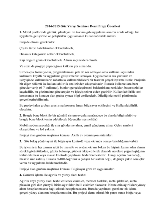 2014-2015 Güz Yarıyı Seminer Dersi Proje Önerileri 1. Mobil