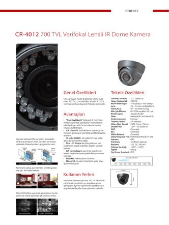 CR-4012 700 TVL Verifokal Lensli IR Dome Kamera