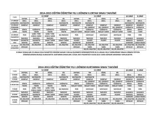 2014-2015 eğitim öğretim yılı ı.dönem kurtarma sınav takvimi 2014