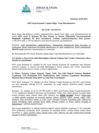 2014-53 6552 Sayılı Kanunla Yapılan Diğer
